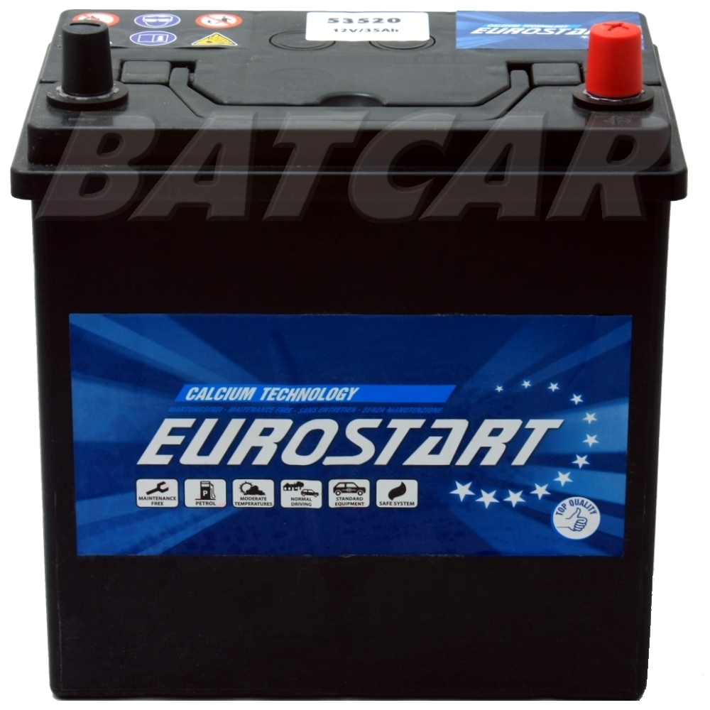 35ah eurostart rechts autobatterie bei uns auch 40ah 45ah. Black Bedroom Furniture Sets. Home Design Ideas