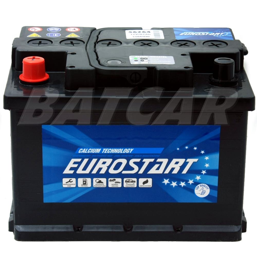 autobatterie eurostart 12v 62ah 530a en top qualit t ebay. Black Bedroom Furniture Sets. Home Design Ideas