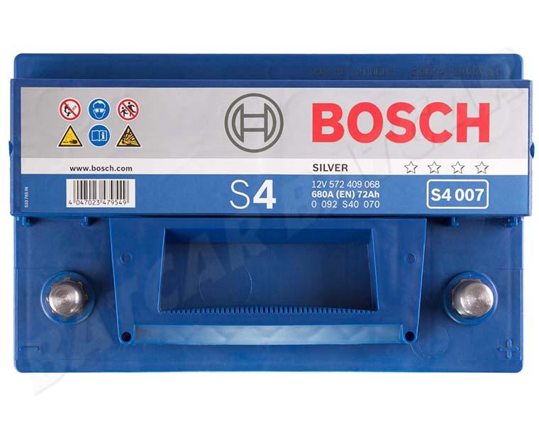 autobatterie bosch 72 ah s4 007 12v 72ah ersetzt 65 70 74. Black Bedroom Furniture Sets. Home Design Ideas