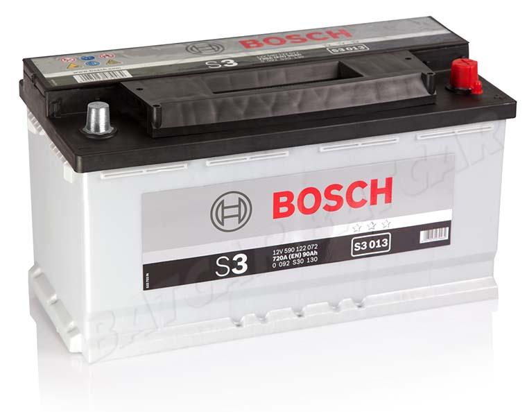 bosch 90 ah starterbatterie s3 013 12v 90ah batterie. Black Bedroom Furniture Sets. Home Design Ideas