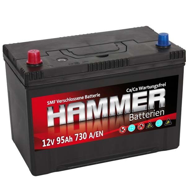 autobatterie hammer 12v 95ah links asia starterbatterie. Black Bedroom Furniture Sets. Home Design Ideas